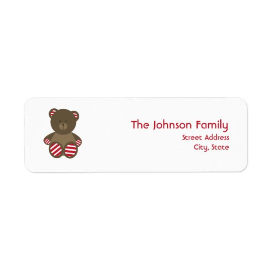 Striped Bear Christmas Address Label