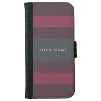 Striped Berry & Petrol Custom iPhone 6 Wallet Case