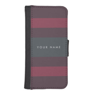 Striped Berry & Petrol Custom iPhone SE/5/5s Wallet Case