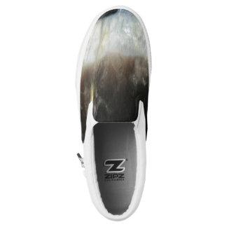 Striped Black Agate, Cool Unique Nature Stone Slip On Shoes