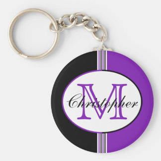 Striped Black and Purple Monogram Basic Round Button Key Ring