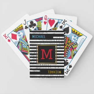 striped black playing cards with name & initial