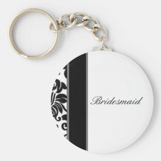 Striped black white and grey damask Wedding set Key Ring