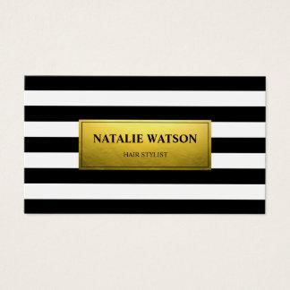 Striped Black White FAUX Gold Foil Modern Elegant Business Card