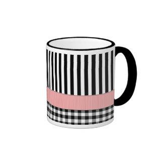 Striped Black White Pattern Design Ringer Mug
