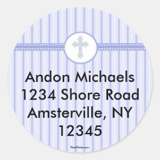 Striped Blue Cross Return Address Sticker