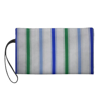 Striped blue & green on white Baggettes Bag Wristlet
