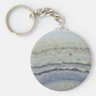 Striped Blue Lace Agate cool unique nature stone Key Ring