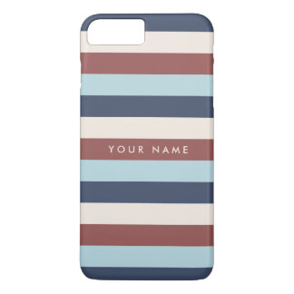 Striped Blue & Marsala Custom iPhone 8 Plus/7 Plus Case