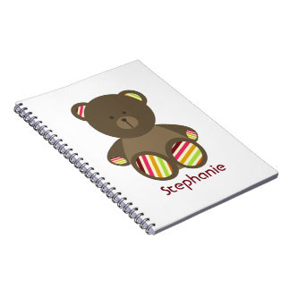 Striped Brown Bear Personalized Spiral Notebook