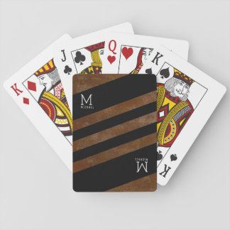 striped brown monogrammed playing cards