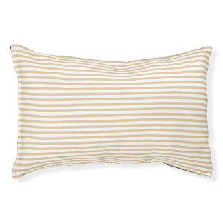 Striped Burlap Tan Pet Bed