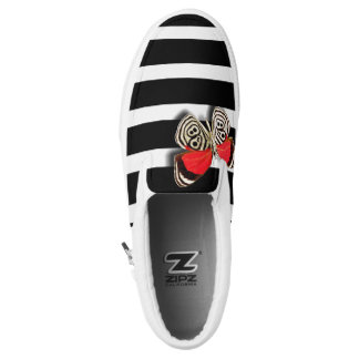Striped Butterfly Slip On's Printed Shoes