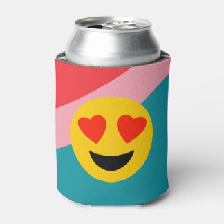 Striped Can Cooler With Love Emoji On Stripes