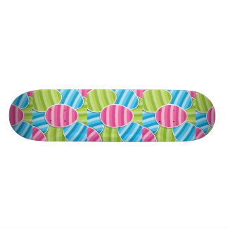 Striped Cartoon Easter Eggs Skate Board Decks