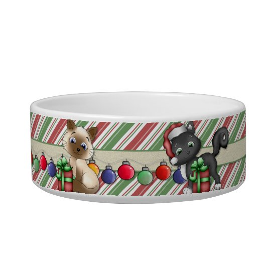 Striped Christmas Holiday Cat Dish - Customise