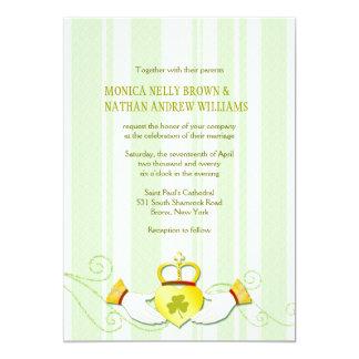 Striped Claddagh Heart Ring Irish Wedding 13 Cm X 18 Cm Invitation Card