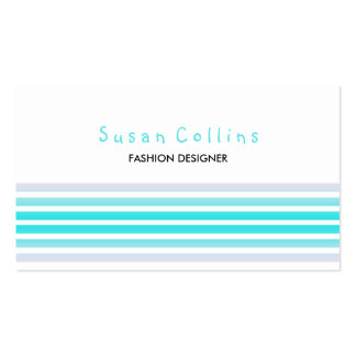 Striped Clean Fashion Cyan Simple Business Cards