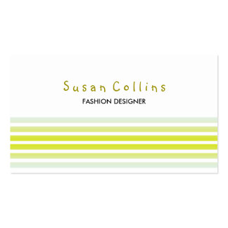 Striped Clean Fashion Lime Yellow  Simple Business Card Templates