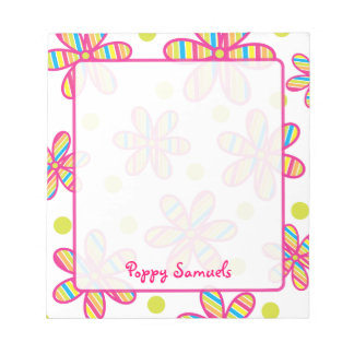 Striped Colorful Flower Personalized Notepad