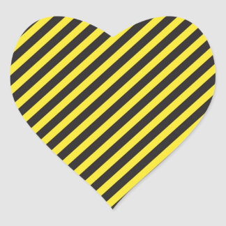 Striped Construction - Yellow & Black Diagonal Heart Sticker