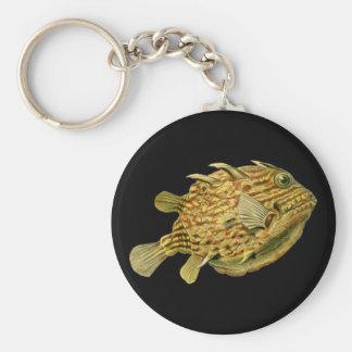 Striped cowfish basic round button key ring