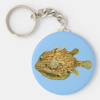 Striped cowfish basic round button key ring