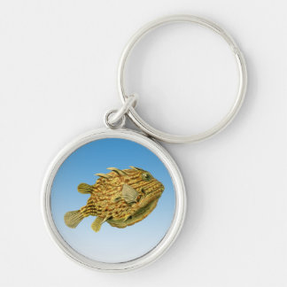 Striped cowfish Silver-Colored round key ring