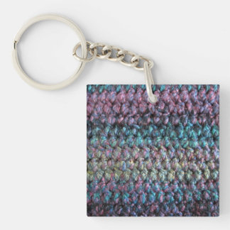 Striped crocheted knitted wool key ring