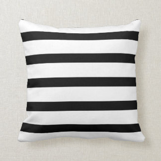 Striped Delight Black and White Cushion