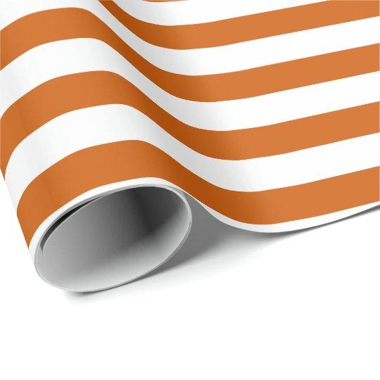 Striped Design Burnt Orange Wrapping Paper