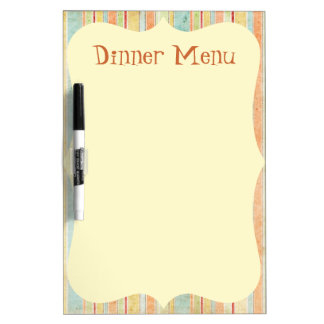 Striped Dinner Menu Dry Erase Board