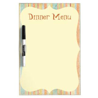 Striped Dinner Menu Dry Erase White Board