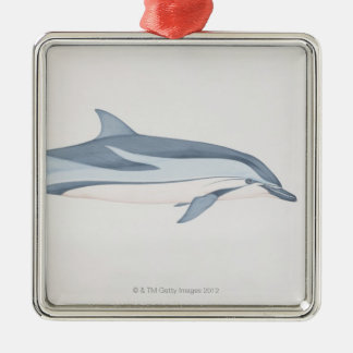Striped Dolphin Silver-Colored Square Decoration