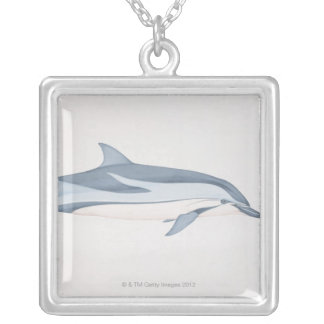 Striped Dolphin Silver Plated Necklace