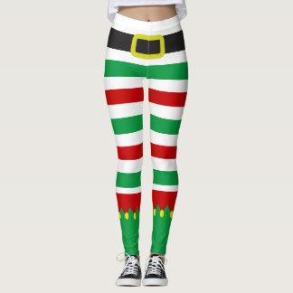 Striped Elf Green Red Christmas Novelty Leggings