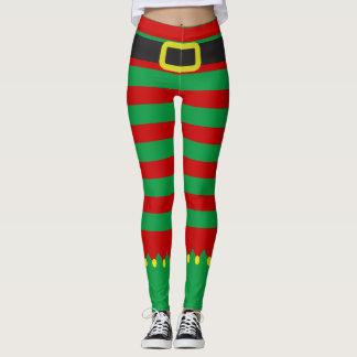 Striped Elf Green Red Novelty Christmas Leggings