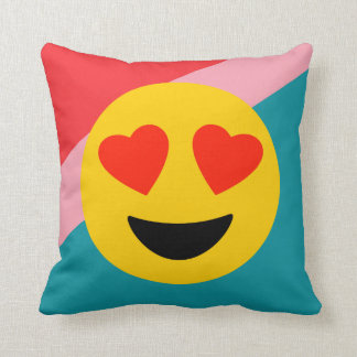 Striped Emoji Love Throw Pillow