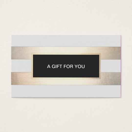 Striped FAUX Gold and Black Plaque Gift Card