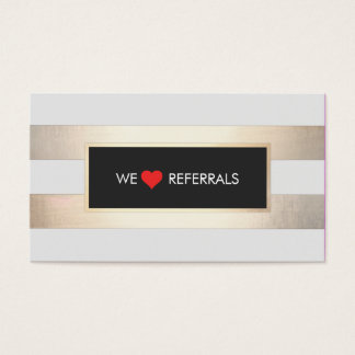 Refer a friend loyalty business cards business card printing striped faux gold and black red heart referral business card colourmoves