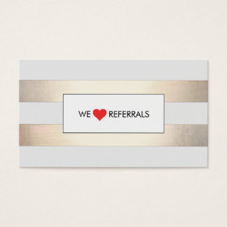 Striped FAUX Gold and Black Red Heart Referral Business Card