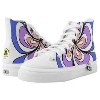 Striped flower printed shoes