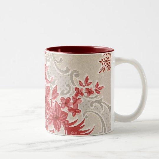 Striped Flowers Vintage Wallpaper Two-Tone Coffee Mug