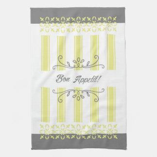 Striped french influence lemon grey tea kitchen towel