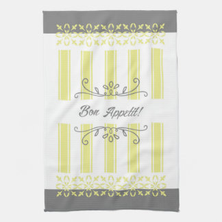Striped french influence lemon grey tea tea towel