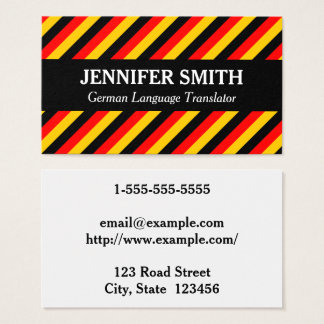 Striped German Language Translator Business Card