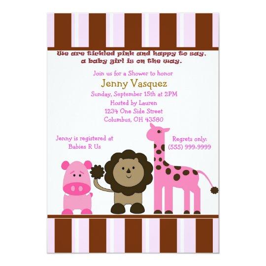 Striped Girl Safari Invitation