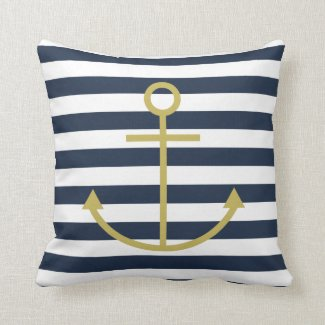 Striped Gold Anchor Cushion