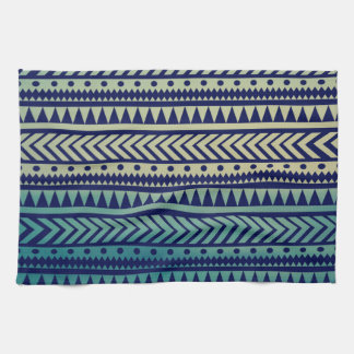 Striped Gradient Tribal Pattern Tea Towel