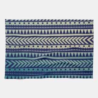 Striped Gradient Tribal Pattern Tea Towel